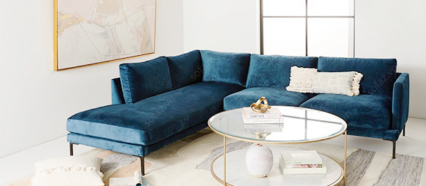 sofa làm bằng nhung hoặc nỉ